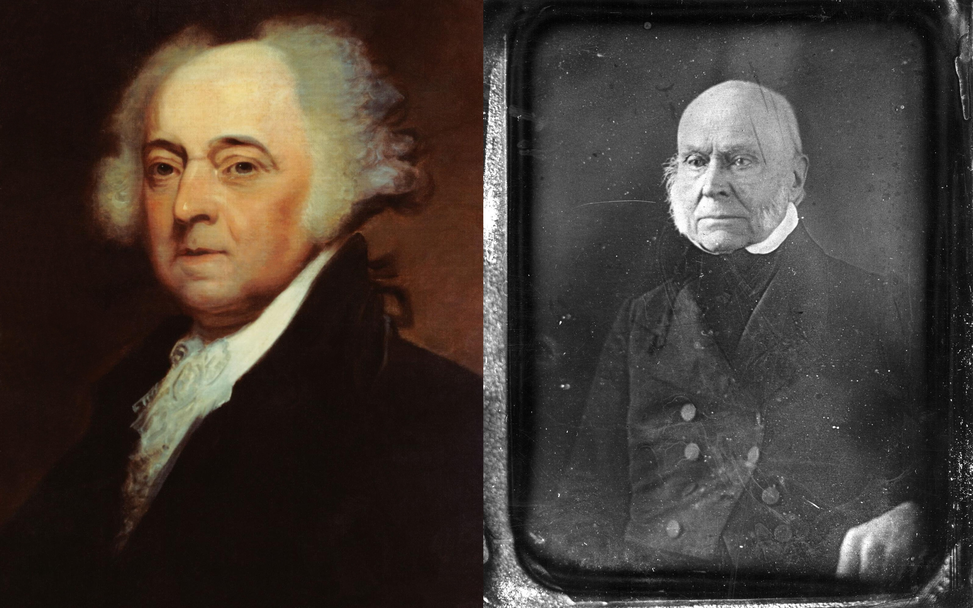 A painting of President John Adams (1735-1826), 2nd president of the United States and founding father, by Asher B. Durand (left, public domain through the US Navy) and daguerreotype c1840s of his son John Quincy Adams, the 6th U.S. President, John Quincy Adams (right, public domain through Smithsonian Institution Archives).