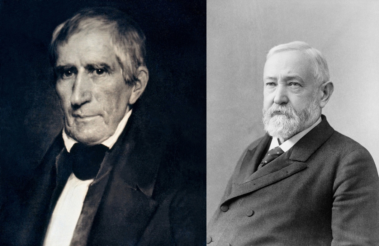 Daguerreotype of William Henry Harrison, 9th President of the United States (left, public domain through The Metropolitan Museum of Art) and 1896 Pach Brothers studio photograph of United States President Benjamin Harrison. (right, public domain through the US National Library of congress), grandson of William Henry Harrison and 23rd U.S. President.