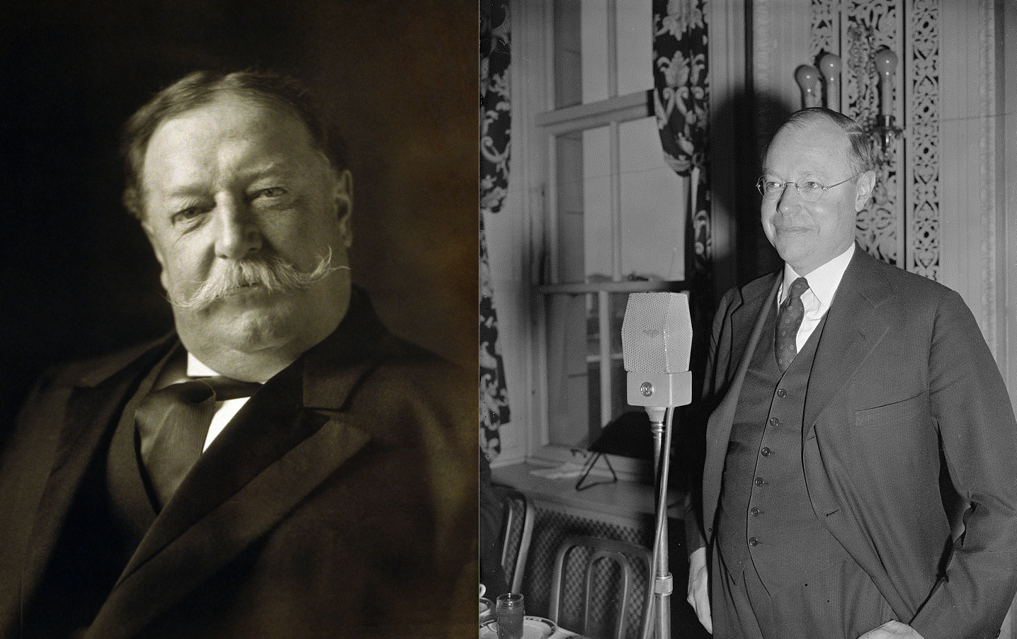 William Howard Taft, 27th U.S. President (left, public domain through the US Library of Congress) and his son, Ohio State Senator from 1939 - 1954, Robert A. Taft (right, public domain through US Library of Congress)