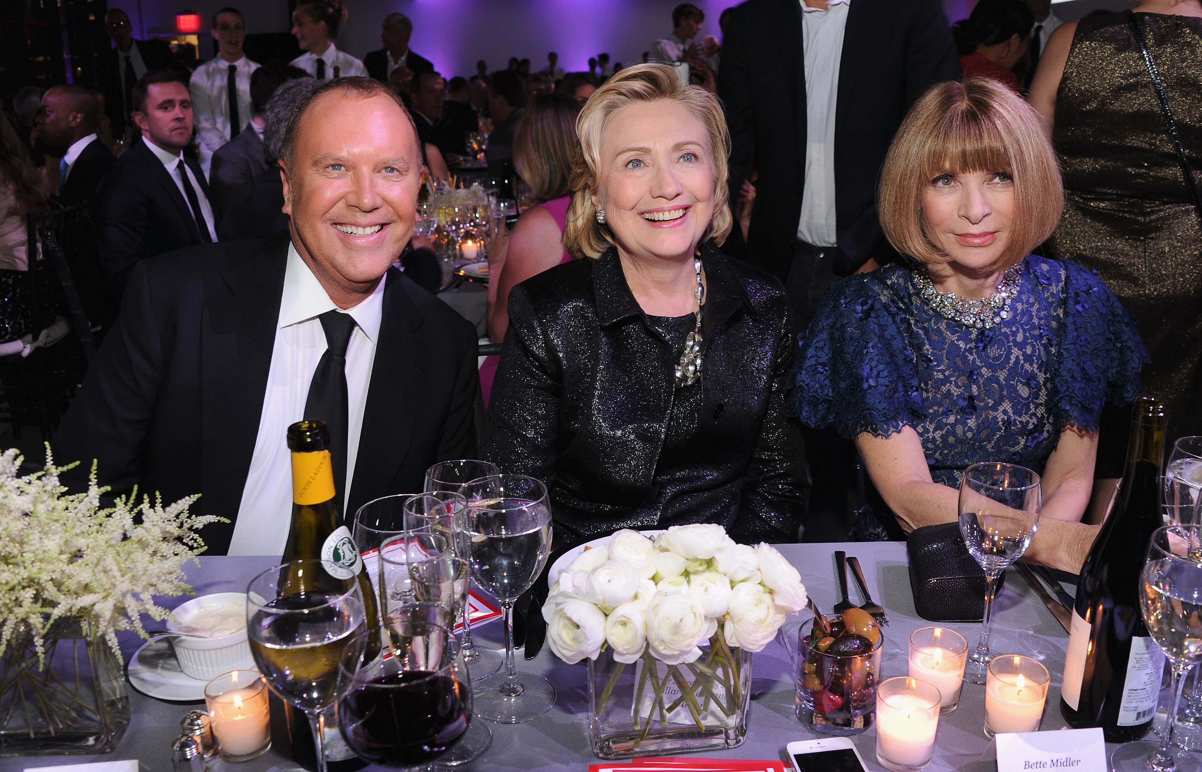 NEW YORK, NY - OCTOBER 16: (L-R) Designer Michael Kors, Hillary Rodham Clinton, recipient of the Michael Kors Award for Outstanding Community Service, and Vogue editor-in-chief Anna Wintour attend God's Love We Deliver 2013 Golden Heart Awards Celebration at Spring Studios on October 16, 2013 in New York City. (Photo by Dimitrios Kambouris/Getty Images for Michael Kors)