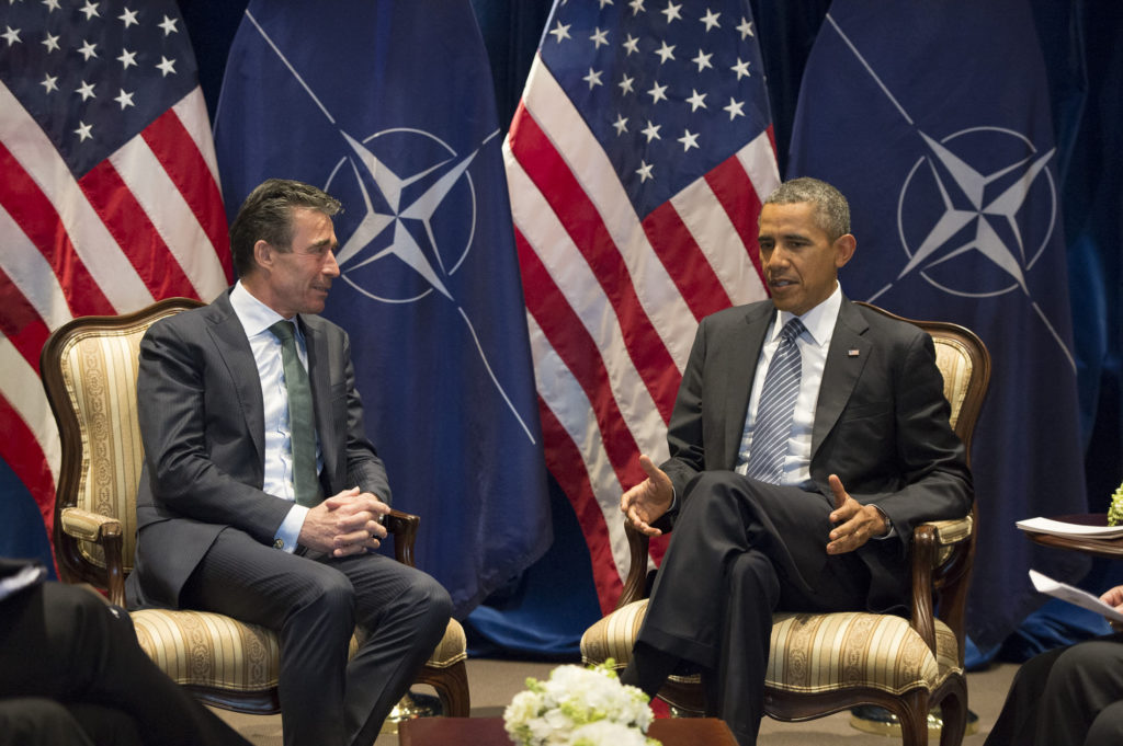NATO Secretary General Anders Fogh Rasmussen meets with US President Barack Obama in Brussels