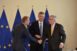 President of the European Council Donald Tusk, NATO Secretary General Jens Stoltenberg and President of the European Commission Jean-Claude Juncker