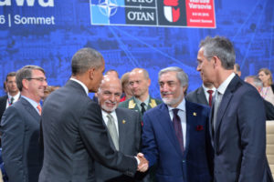 US Secretary of Defense, Ash Carter, US President Barack Obama, President of Afghanistan Mohammad Ashraf Ghani, Chief Executive Officer of Afghanistan Abdullah Abdullah and NATO Secretary General Jens Stoltenberg