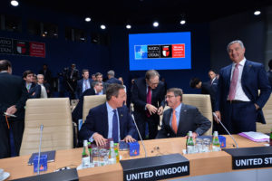 David Cameron (UK Prime Minister), NATO Deputy Secretary General Alexander Vershbow, Ashton Carter (US Secretary of Defense) and Milo Dukanovic (Prime Minister of Montenegro)
