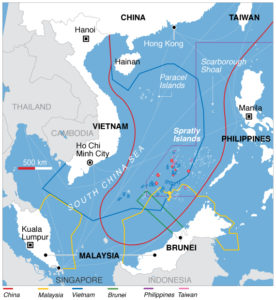 South China Sea Territorial Claims. Via Wikipedia