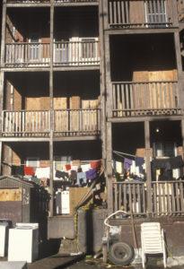 Back porches of decaying apartment housing, Holyoke, Massachusetts