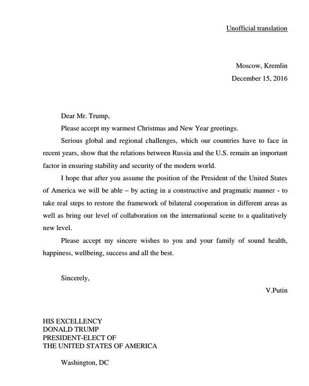 Putin letter