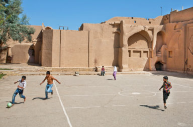 Children in the Middle East Playing Soccer